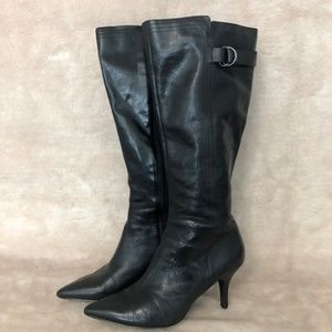 Bandolino Black Leather Knee High Boots Size 7.5